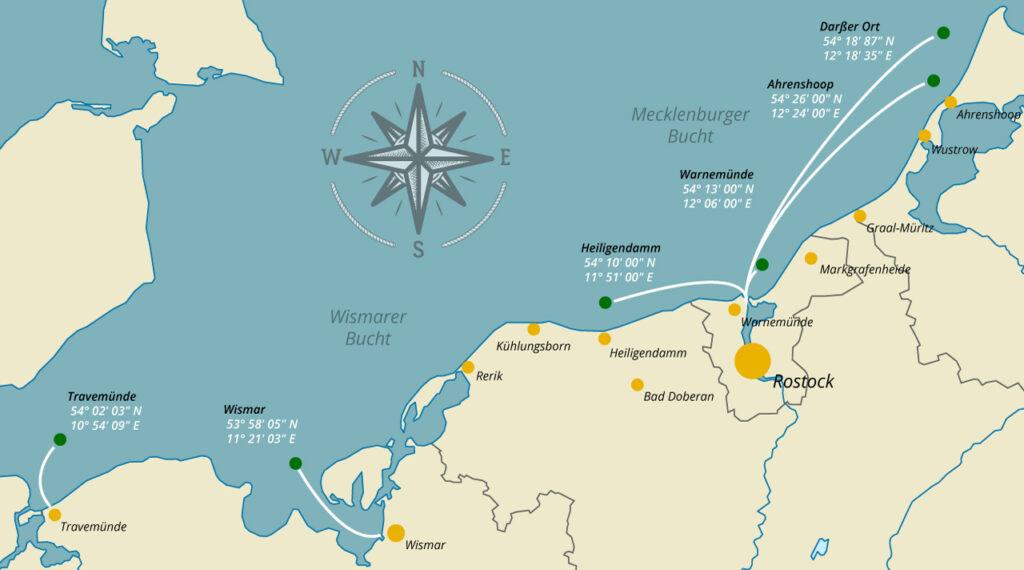 Landkarte mit den verschiedenen Abfahrtspunkten einer Seebestattung
